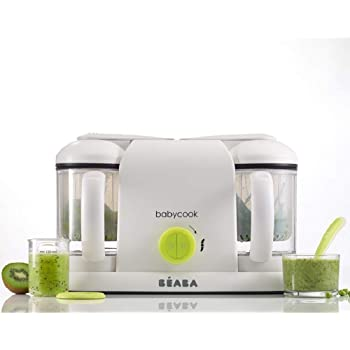 Béaba- Babycook Duo - 4-in-1 Baby Food Processer - Blender, Cooker and Steamer - Fast Steam Cooking in 15 Minutes - Homemade Food for Baby and Children - XXL 2 x 200 ml Capacity - Neon