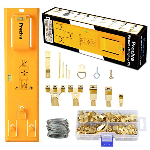 Picture Hanging Tool Kit, Preciva Wall Hanger Kit with Level Easy Frame and 220 Pcs Assorted Hanging Hooks Hardware with Hooks, Nails, Hanging Wire, D Ring, Triangular Ring, etc.
