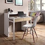 Habitdesign - Mesa Escritorio Extensible, Mesa Estudio Consola, Color Blanco y Roble Canadian, Medidas: 98,5x87,5x36-70 cm de...