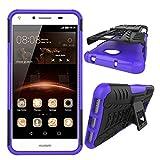XINYUNEW Funda Huawei Y5 II 2016, 360 Grados Protective+Pantalla de Vidrio Templado Caso Carcasa Case Cover Skin móviles telefonía Carcasas Fundas para Huawei Y5 II 2016-Púrpura