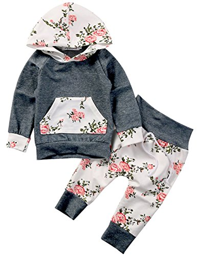 Baby Girls Long Sleeve Flowers Hoodie Top and Pants Outfit with Kangaroo Pocket (6-12M/Tag 80, Grey)