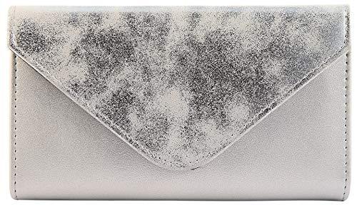 Excellanc Damen Geldbörse Kunstleder Silber Briefumschlag Format 19 x 10 cm