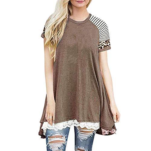 Generice Summer - Camiseta de manga corta para mujer, diseño de leopardo, cuello redondo, de encaje, para mujer