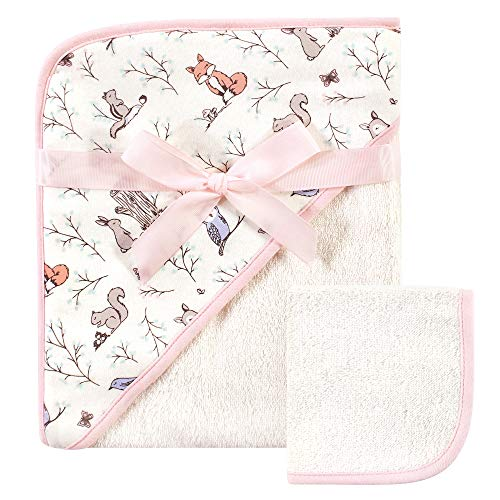Hudson Baby Unisex Baby Cotton Hooded Towel and Washcloth, Enchanted...