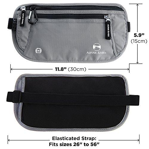 Money Belt - RFID Blocking Hidden Travel Wallet + 7 Bonus Sleeves