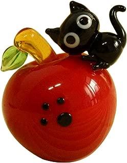 KAZALEE MALL Cute Black Cat Handmade Apple and Cat Figure Miniature Glass