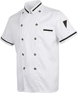 HOMYL Unisex White Chef Jacket Short Sleeves Double Breasted Shirt Kitchen Uniform