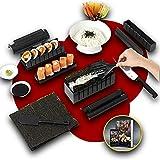 Luspo Kit Para Hacer Sushi- set Sushi/nori molde Completo + 50 Recetas Ofrecidas+guía de montaje - 12 Piezas -Con un Experto Cuchillo de Sushi, Cocina de Arroz - Accesorios de Cocina Japonesa