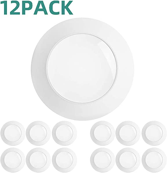 Addlon 12 Pack 5 6 Inch LED Disk Light Flush Mount Downlight Recessed Retrofit Ceiling Lights Installs Into Junction Box Or Recessed Can 15W 120W 5000K Daylight 1100LM Dimmable Energy Star ETL