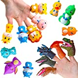 PROLOSO 15 Pcs Finger Puppets Set Animal & Dinosaur Finger Puppets for Toddlers Kids Party Favors Stocking Stuffers Goodie Bag Fillers
