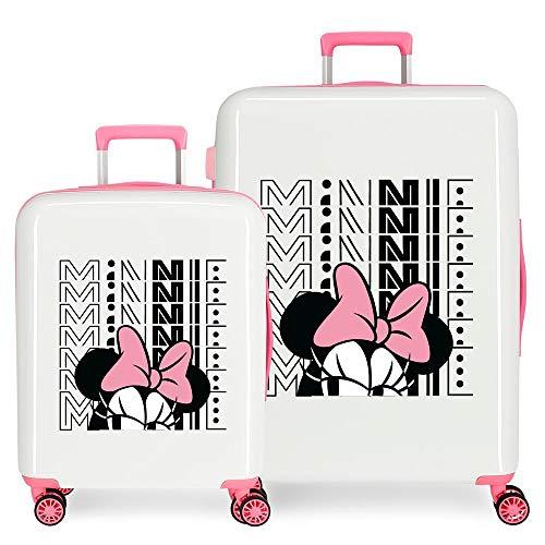 Disney Pretty Minnie Juego de Maletas Blanco 55/70 cms Rígida ABS Cierre TSA Integrado 119,4L 6 kgs 4 Ruedas Dobles Equipaje de Mano