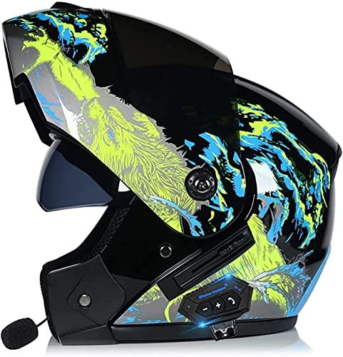 Motorbike Helmet Casco Bluetooth Casco de Moto ABS Aprobado por ECE/Dot Gorra de protección Facial Completa Cascos abatibles Casco de Motocross para Adultos Antivaho Lente Dual S ~ XL YSDKJ628(Col