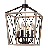 Q&S Rustic Farmhouse Chandelier Light Fixtures,ORB+Oak White Finish,Vintage 4 Lights Metal Lantern Pendant Hanging Ceiling Light Fixture for Kitchen Island Dining Room Entryway Stairway Foyer