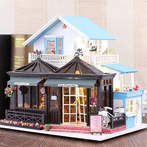 HJKH DIY Puppenhaus Kit DIY Puppenstuben Gravierzeit 30 * 9 * 27cm Mit Möbel Licht-Musik-Abdeckung Geschenk-Dekor-Kollektion (Farbe : Mehrfarbig, Größe : Einheitsgröße)