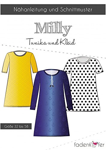 Stoffe Werning Schnittmuster Fadenkäfer Milly-Damen Tunika & Kleid Gr.32-58 Papierschnittmuster