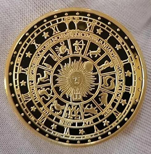 JC Moneda de adivinación de Luna y Sol bañada en Oro, colección de Constelaciones de la Suerte,