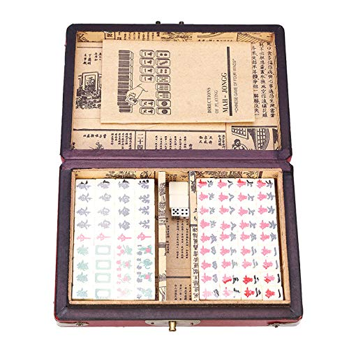 SISHUINIANHUA 144 Fliesen Mah-Jong Set Lustige Chinese Traditional Mahjong Kartenspiele Stress Relief Portable mit Box für Party-Familie