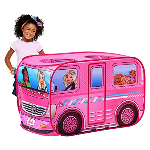Sunny Days Entertainment Tienda de campaña Barbie Camper Pop Up Play - Casa de ensueño Rosa para niños   Bolsa de Transporte incluida   Exclusivo de Amazon