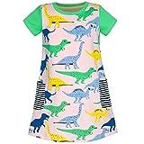 Mädchen Kleid Baumwolle Grün Krokodil Dinosaurier Tasche Kurz Ärmel Sommerkleid T-Shirt Kleid Gr....
