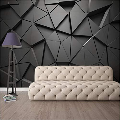 Moderne Stereoskopische Schwarze Geometrische Dreieck-Tapeten Des Luxus-3D Für Wohnzimmer-Büro-Industrielles Dekor-Tapeten 3D-480Cmx250Cm