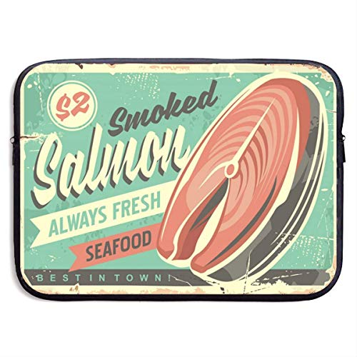 Smoked Salmon Fish Tin Sign Laptop Sleeve Shoulder Bag, Protective Carrying Case 15 Inch Slim Sleeve