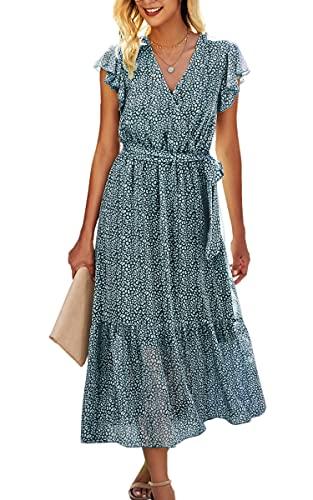 Spec4Y Maxikleid Damen Blumen Lang Kleider Kurzarm V-Ausschnitt Wickelkleid Rüschen Sommerkleider mit Gürtel 2121 Dunkelgrün Medium