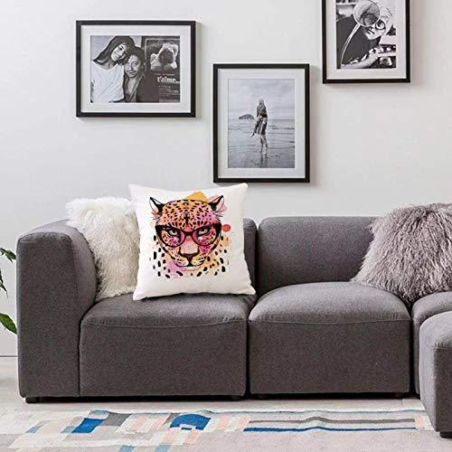 Bedsure Funda Cojin 40x40cmAnimal, Retrato de Estilo Acuarela de Leopardo con Gafas Salpicaduras de Pintura Estilo artísticoFunda de Almohada Cuadrada para Sofá, Dormitorio y Sala de Estar