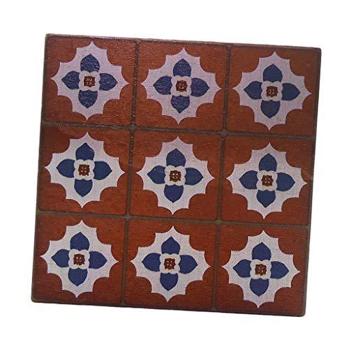 perfeclan Mini Modelo de Azulejo de Suelo, Estilo de Moda, Mano de Obra, Mueble de Madera, Adorno para Amada Casa de Muñecas 9x9x0.6cm
