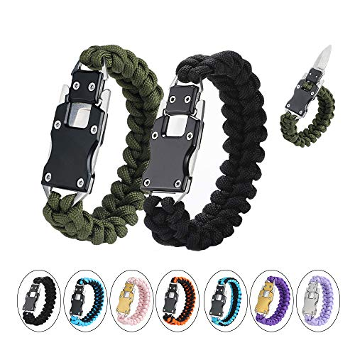Paracord Knife Bracelet Survival Cord Bracelets, Emergency Tactical EDC Paracord Bracelet,Survival Gear Kit for Hiking Traveling Camping, Best Gift for Men & Women (Black Army Green)