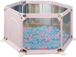 WJSW Baby Playpen Child Safety Fence Portable Room Divider  Foldable Kids Activity Center Individually Play Pen  color Pink