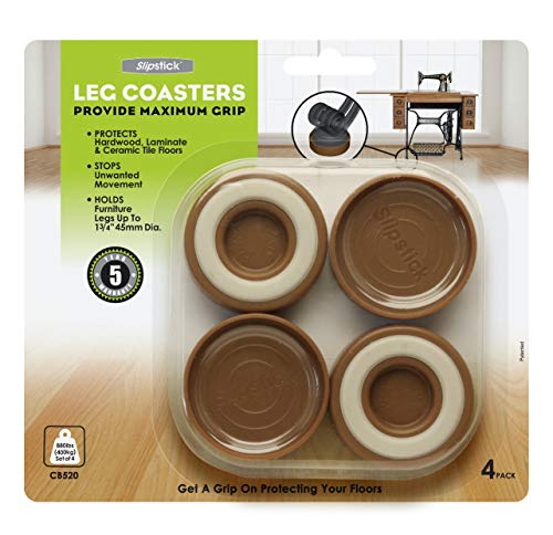Slipstick CB520 Furniture Caster Cups / Floor Protector Coasters for Furniture Feet (Set of 4 Grippers) 1-3/4 Inch Round - Caramel