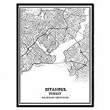 Istanbul Truthahn Karte Wandkunst Leinwand drucken Poster