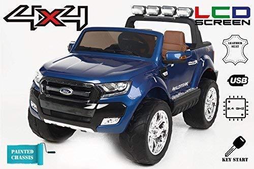 Ford Ranger Wildtrak 4X4 LCD Luxury, Coche eléctrico para niños, 2.4Ghz, Pantalla LCD, Azul pintado, 2x12V, 4 X MOTOR, mando a distancia, dos asientos en cuero, ruedas blandas de EVA, Bluetooth