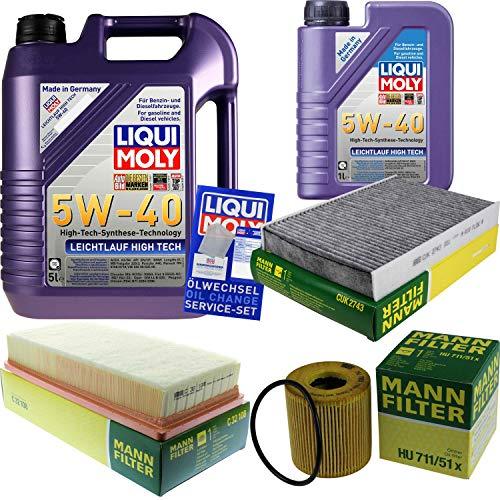 Filter Set Inspektionspaket 6 Liter Liqui Moly Motoröl Leichtlauf High Tech 5W-40 MANN-FILTER Innenraumfilter Luftfilter Ölfilter