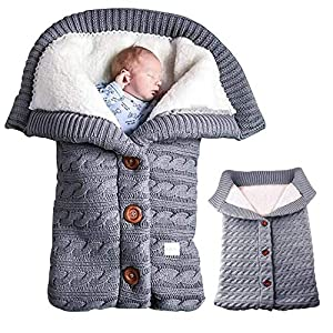 Manta Bebe,Swaddle Wrap Bebe,Saco de Dormir Bebe Recien Nacido,Cochecitos de Punto más Terciopelo,Manta de Cochecito de…