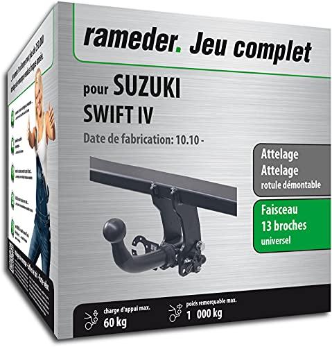 Rameder Pack, attelage rotule démontable + Faisceau 13 Broches Compatible avec Suzuki Swift IV (162639-08994-1-FR)