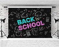 HD学校に戻る背景ポールポケットカラーの10x7ftコットンクロスチョークワードダークブラック写真の背景学校の生徒を始めるパーティーの装飾写真ビデオ小道具DSFS015