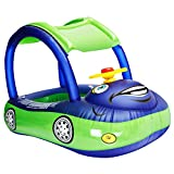 iGeeKid Baby Inflatable Pool Float with Canopy, Car Shaped Swim Float Boat with Sunshade for Toddler Infant Boys Girls Pool Floaties Cute Boat Summer Beach Outdoor Play (Blue)