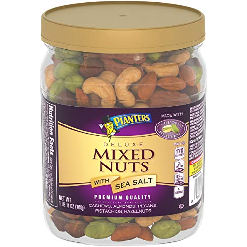 PLANTERS Deluxe Mixed Nuts with Sea Salt, 27 oz. Resealable Container - Variety Mixed Nuts Snacks with Cashews, Almonds, Pecans, Pistachios & Hazelnuts - Energy Boost - Kosher