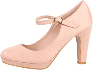 Elara Damen Pumps Riemchen High Heels Vintage Chunkyrayan