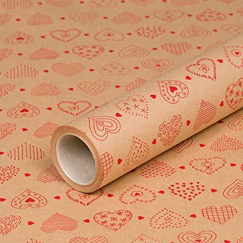 Geschenkpapier Vintage Herz Kraft, Kraftpapier, glatt, 60 g/m², Geburtstagspapier - 1 Rolle 0,7 x 10 m