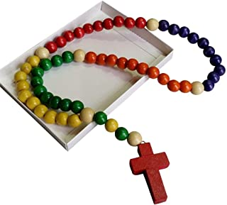 Inspire Nation Kiddie Rosary Wooden Beads 24 inch Strand with Gift Box