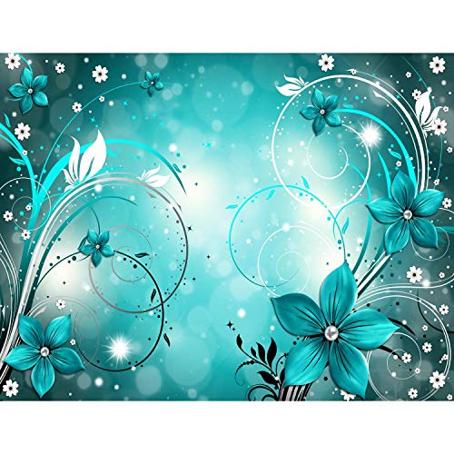 Fototapeten Blumen Abstrakt Türkis 352 x 250 cm Vlies Wand Tapete Wohnzimmer Schlafzimmer Büro Flur Dekoration Wandbilder XXL Moderne Wanddeko - 100% MADE IN GERMANY - Runa Tapeten 9205011a