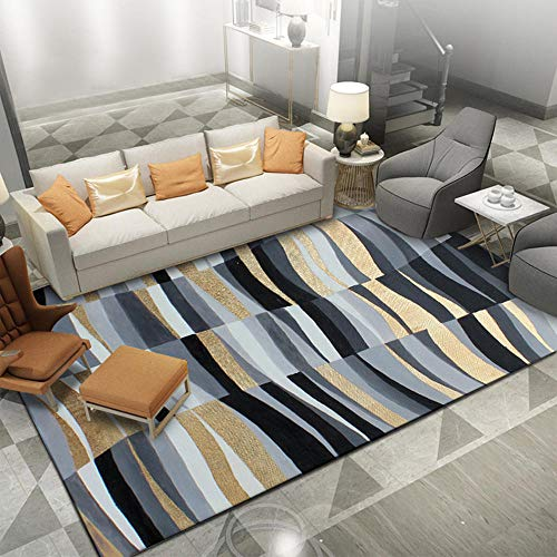 Alfombras Alfombra Salon Verano Alfombra de Sala de Estar de diseño de línea geométrica Abstracta Azul Negro Amarillo Alfombra bebé alfombras de pie de Cama 60*90cm