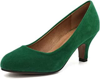 MAIERNISI JESSI Women's Classic Round Toe Pump Kitten Low Heel Shoes