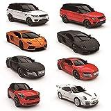 CMJ RC Cars Mando a Distancia Supercar Rango Luces LED, 2,4ghz Carrera 10 Juntos - Audi R8 GT Rojo, 1:24 Scale