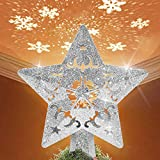 GOKKCL Christmas Tree Topper Lighted Star with LED Snowflake Projector Lights, Lighted Star Tree Topper for Christmas Tree Decorations(Silver)