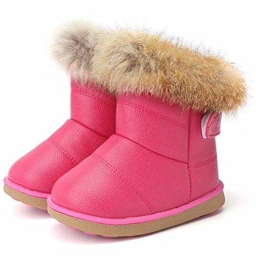 CIOR Toddler Snow Boots for Girls Boys Winter Warm Kids Button Boots Outdoor Shoes TXA-88-Rose Red-25