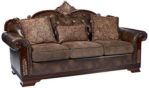 Homelegance 9815-3 Croydon Traditional Two-Tone Sofa, 86'W, Brown PU Leather