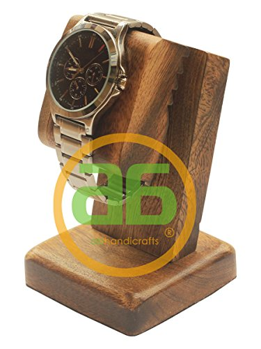 Today's Deals - abhandicrafts - Mango Wood Polish Wooden Watch Stand/Dock/Station/Platform for All Models/Moms, DADS, Grandparents (Watch Stand Burn Finish)